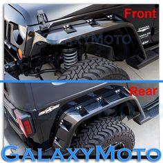 Jeep JK Wrangler Gloss Black Stubby Front+Rear Pocket Style+Rivet Fender Flares