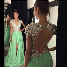 Check out our new design and all the wonderful accessories!! Long Evening Dres... http://designsbyzuedi.myshopify.com/products/long-evening-dresses-2017-green-slit-crystals-beaded-v-neck-a-line-vestidos-de-festa-prom-party-dresses-free-shipping-custom-sj?utm_campaign=social_autopilot&utm_source=pin&utm_medium=pin
