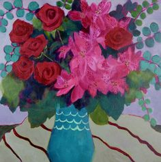 """Daily Painters Abstract Gallery: Contemporary Expressionist Still Life Art,Bold Expressive Painting """"Red and Pink"""" by Santa Fe Artist Annie O'Brien Gonzales Easy Flower Painting, Flower Art, Art Flowers, Acrylic Painting Inspiration, Still Life Artists, Still Life Flowers, Painting Still Life, Illustrations, Picture On Wood"""