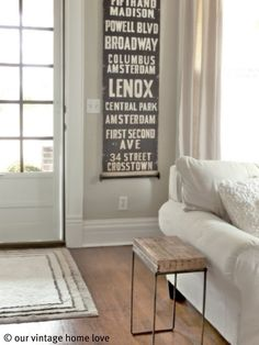 Our Vintage Home Love - living room. Wall color: Manchester Tan, BM ...