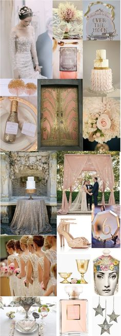 Art deco inspired gold and blush pink wedding details. Luster Amber Bowl & Urn: http://www.jamaligarden.com/detail/21227/68/glass-vases/color-glass/amber-luster-bowl-and-urn.php