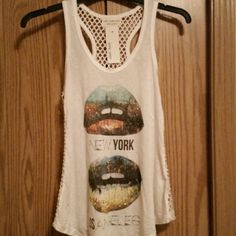 Net Racer back tank Super cute studded lips New York & Los Angeles tank April Spirit Tops Tank Tops