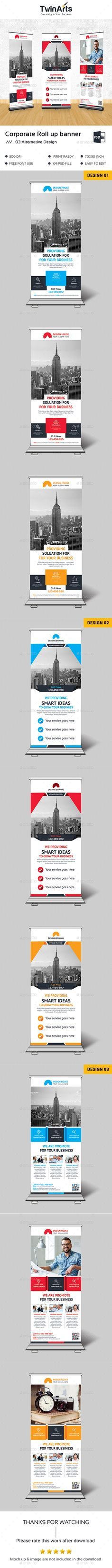 Roll up Banner. — Photoshop PSD #banner stand #property • Available here → https://graphicriver.net/item/roll-up-banner/17600149?ref=pxcr