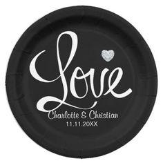 Elegant Black White LOVE Diamond Heart Wedding Paper Plate