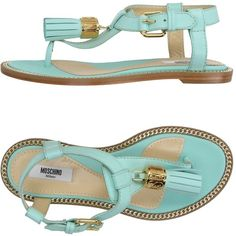 Moschino Couture Toe Post Sandal ($405) ❤ liked on Polyvore featuring shoes, sandals, light green, moschino shoes, leather buckle sandals, leather sole sandals, toe thong sandals and flat leather sandals