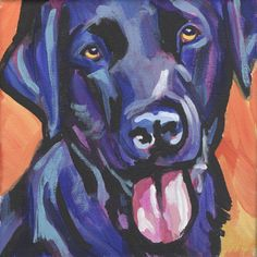 Black Lab Labrador Retriever Dog Bright colorful pop dog art Poster - Here's a wonderful, bright, fun, tribute to your best friend and favorite breed- the black Lab! / from an original painting by Lea Labrador Retrievers, Black Labrador Retriever, Retriever Puppies, Dog Pop Art, Dog Art, Schwarzer Labrador Retriever, Labrador Noir, Dog Paintings, Dog Portraits