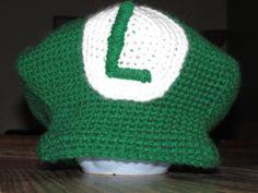 Hannahs Homestead2 Crochet Luigi or Mario Hat. via Etsy.  www.facebook.com/dancingcow2  www.etsy.com/shop/HannahsHomestead2
