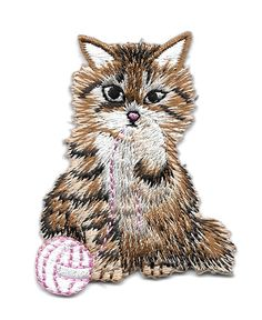 Cat - Kitten - Brown Kitten W/Yarn -  Embroidered Iron On Applique Patch #Unbranded