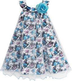 Girls Dress Tulle Overlay Flower Detailing Size 7-14 Years
