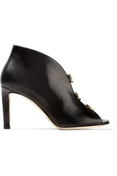 Jimmy Choo - Lorna Cutout Embellished Leather Ankle Boots - Black