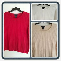 ❤ Last Chance ❤ This Is A Bundle Of 3 Woman's Short Sleeved Tops From Karen Scott Size Is 24W - 26W. These Have All Been Worn And There's A Few Flaws But Overall They're In Great Shape 1 Red, 1 White, 1 Tan. Bought From Macy's 🚫 TRADES 🚫 PAYPAL 🚫 LOWBALLING PRICED ACCORDINGLY PRICE NOW FINAL ❤ Laura Scott Sweaters Crew & Scoop Necks