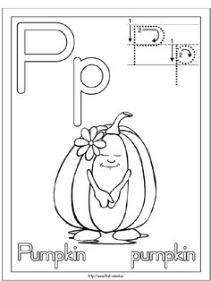 P is for pumpkin Coloring Page from TwistyNoodle.com