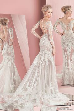 zuhair murad spring summer 2016 bridal long sleeves plunging neckline lace mermaid wedding dress patricia