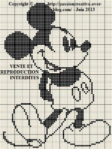 Grille gratuite point de croix : Mickey monochrome