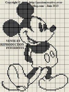 Grille gratuite point de croix : Mickey monochrome