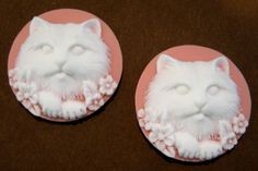 Plastic 25mm Cat Cameos in White on Pink  3 by beadbarnsupplies, $1.50
