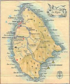 Illustrated Hand Painted Watercolor Map of Praslin Island