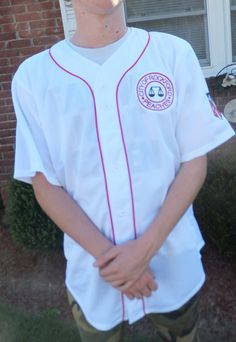Men's X-large (chest inches) White polyester Baseball Jersey with red trim and Patches. League of Their Own by SilverThreadsbyRonda on Etsy Baseball Pants, Baseball Jerseys, Rockford Peaches, Peach Clothes, Baseball Birthday Party, Girls Dress Up, Vintage Party, Sweet Girls, Navy And White