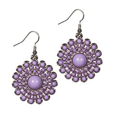 Silver Starburst Earrings with Lilac Cabochons