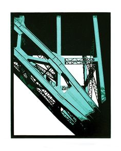 Tyne Bridge, Newcastle Linocut by Graham Spice. I love the colour palette. Etching Prints, A Level Art, Wood Engraving, Tampons, Linocut Prints, Print Artist, Woodblock Print, Newcastle, Architecture Art
