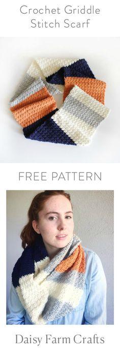 FREE PATTERN - Crochet Griddle Stitch Scarf