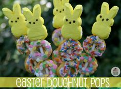 Almond Doughnuts with Vanilla Glaze Recipe...Easter Doughnut Pops...Can buy doughnuts already decorated or plain and make the vanilla glaze and decorate your own.