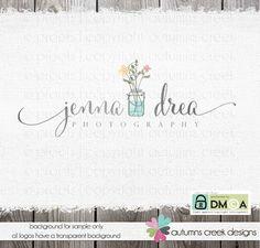 Premade Logo - Premade Photography Logo  Mason Jar Wild Flowers floral logo - florist - logo - Daisy Hand drawn Boutique