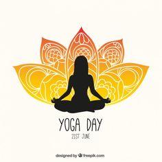 Yoga dia panfleto Vetor grátis