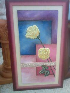 Cuadro de placa de marmolina pintado