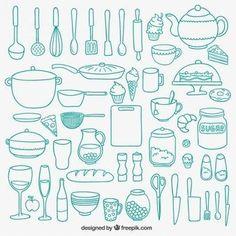 Hand drawn kitchenware