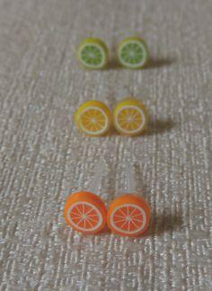3 Pairs of tiny Citrus Slice earrings with plastic posts, ORANGE, LEMON, LIME slices http://www.etsy.com/ca/shop/TakeHeartCanada