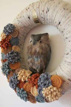 Blue and Brown Owl Wreath, Autumn Wreath, Fall Wreath, Yarn Wreath, 12 inch size - Ready to Ship