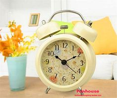 Surborder Shop Creative Twin Bell Analog Alarm Clock Battery Operated  Loud Alarm Clock 3 Beige >>> Check out the image by visiting the link.