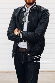 """stayclassic: """"August 29, 2014. Jacket: Faux Leather Varsity - Forever 21 - $44 Shirt: Stripe Oxford Sport Shirt - Brooks Brothers - $39 Jeans: Levi's 511 in Rigid Dragon - Nordstrom - $50 Boots:..."""