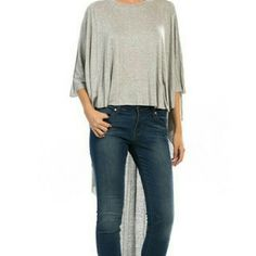 Wing it in Gray Extreme high low cotton shirt Tops Tunics
