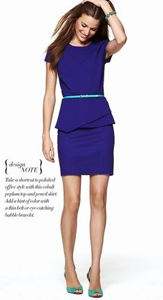 A cobalt asymmetric peplum top, a pencil skirt and a thin eye-catching belt make the perfect office ensemble