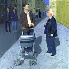 #fatherlyadvice, Two #men stop to #talk in a busy passageway. The younger #man is with a #babycarriage, an unusual sight in #Florence, #Italy. The older man is holding his cell phone. Are they both #fathers, perhaps #discussing the unseen #child? #pram, #grandfather, #father, #baby,