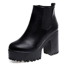 Tenworld Women Lug Sole Bootie Platform Chunky High Heel Ankle Boots (7, Black) * Learn more by visiting the image link.