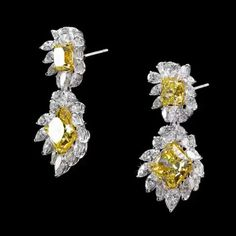 Dehres (@dehres) on Instagram: 'Sun Flower' Radiant Cut Fancy Yellow Dangling Earrings - the tops are 2 carats each and earring pendants are 5 carats. Beautifully surrounded by mixed cut diamonds (266385) #dehres #earrings #dangelingearrings #facycolordiamonds