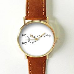 "Dopamine Happy Hormone Watch Molecules Watches for Men Women Leather Ladies Vintage Style Jewelry Accessories Gifts Spring Fashion Unique Dopamine is a ""pleasure"" hormone and is stimulated when we strive towards a goal. It helps motivate us to take action to achieve the goal so we can"