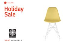The Herman Miller Holiday Sale is on! Visit the Eames Shop today for 15% off your favorite furniture designs.  To spread even more joy, the Eames Office has extended the discount nearly storewide. Just use Code: #EamesCheer through November 30, 2015 to get 15% off Eames book, toys, films, and more. Free Domestic Shipping on orders over $75. shop.eamesoffice.com