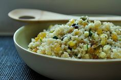 Summer Squash Couscous with Sultanas, Pistachios and Mint  (Not a fan of sultanas, so I'll be ditching those.)