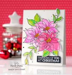 Simon Says Stamp Winter Flowers stamp set. Watercolor card by Wanda Guess (Simon Says Stamp Believe in the Season release) Chrismas Cards, Christmas Cards 2018, Xmas Cards, Holiday Cards, Flower Stamp, Flower Cards, Mini Albums, Winter Karten, Winter Flowers