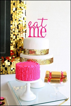 whoa. love the sequins on the cake!