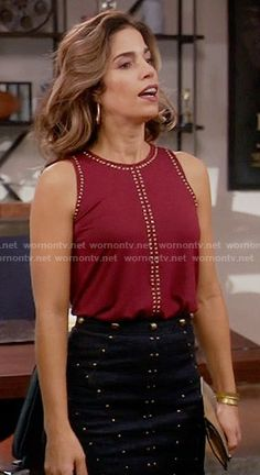 Marisol's red studded top and studded skirt on Devious Maids.  Outfit Details: https://wornontv.net/57870/ #DeviousMaids