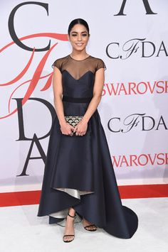 Our Favorite Looks from the 2015 CFDA Awards! xobb #redcarpet Gala Dresses, Event Dresses, Red Carpet Dresses, Vanessa Hudgens Style, Vanessa Hudgens Dress, White Carpet, Cfda Awards, Silk Gown, Anna Wintour