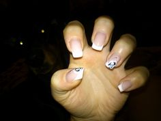 White Manicure French Nails Gel Black Flower