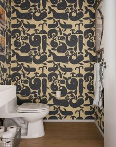 Great whale wall paper for the powder room  Robertson Pasanella Dumbo loft design | Remodelista