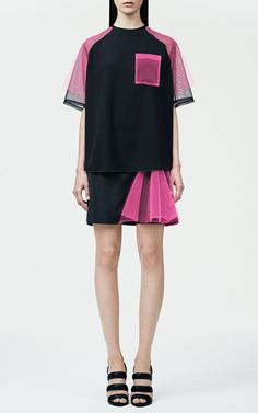 Black And Neon Pink Contrast Tulle Top by Christopher Kane for Preorder on Moda Operandi