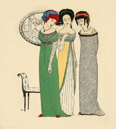 Les Robes de Paul Poiret, 1908.    Art-Nouveau -styled fashion plate by French fashion designer Paul Poiret. The hand-stenciled pochoir print by the artist Paul Iribe.